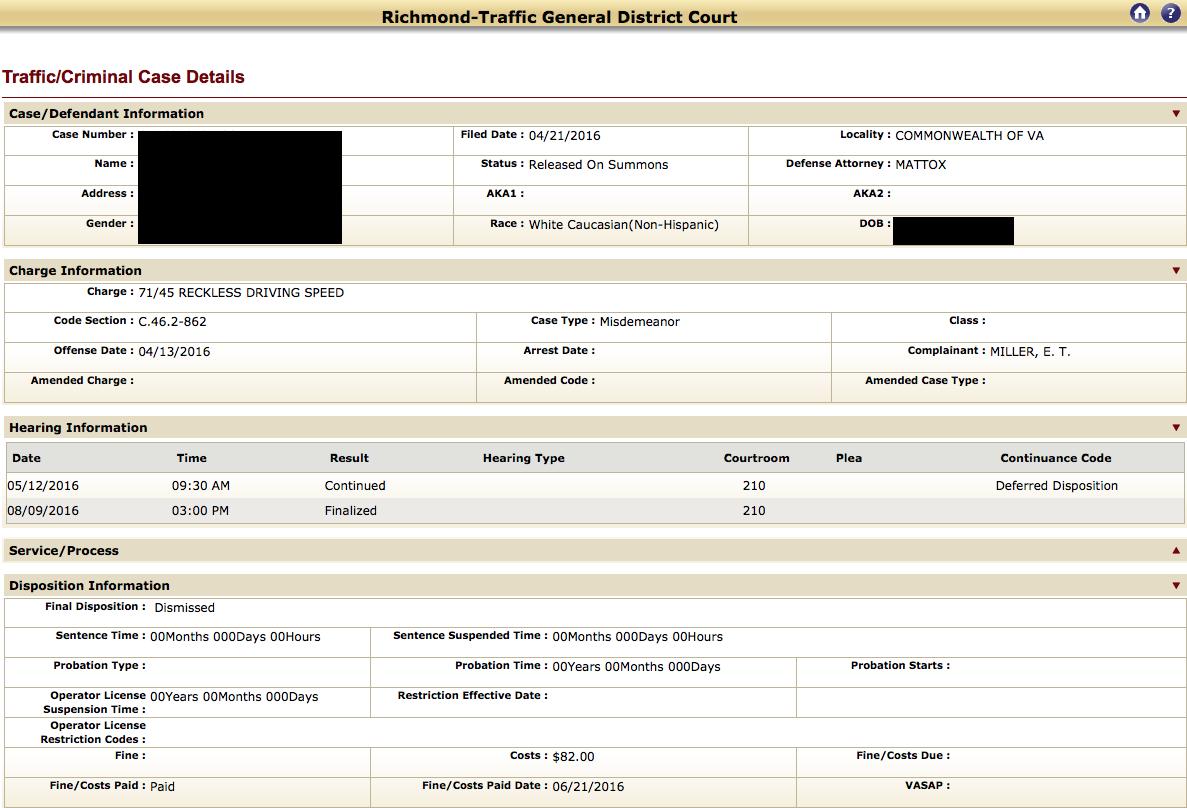 Reckless Driving, EZ pass lane, Richmond Traffic Court, RADEP, Virginia, Traffic Attorney, Lawyer, Dismissal, No points