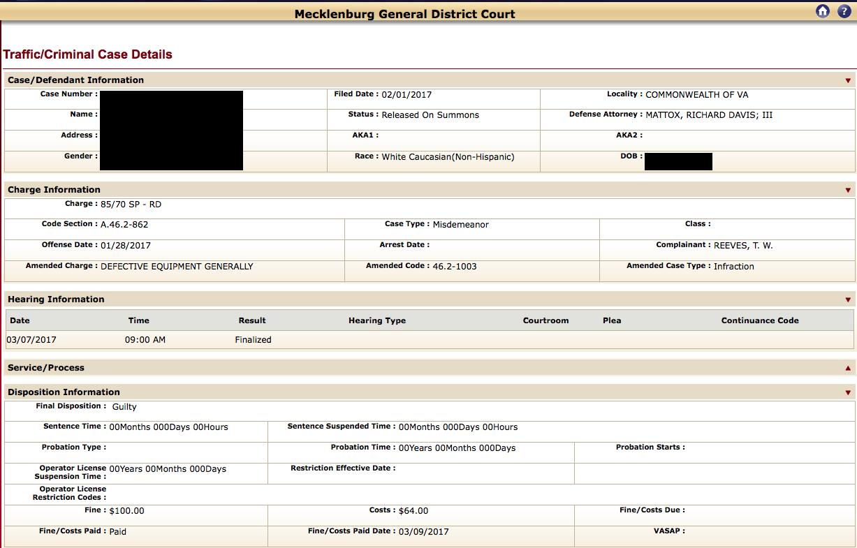 Mecklenbur, Virginia, Reckless driving in Virginia, Reckless driving attorney, no points