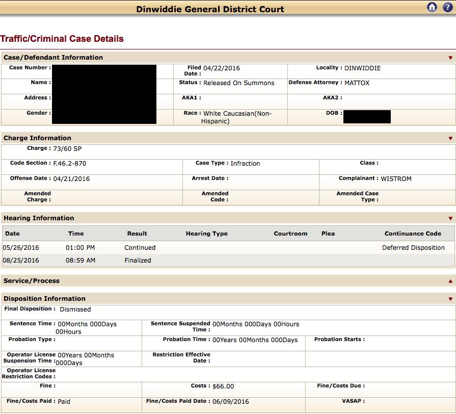 Speeding in Virginia, Virginia Traffic Attorney, Dismissed