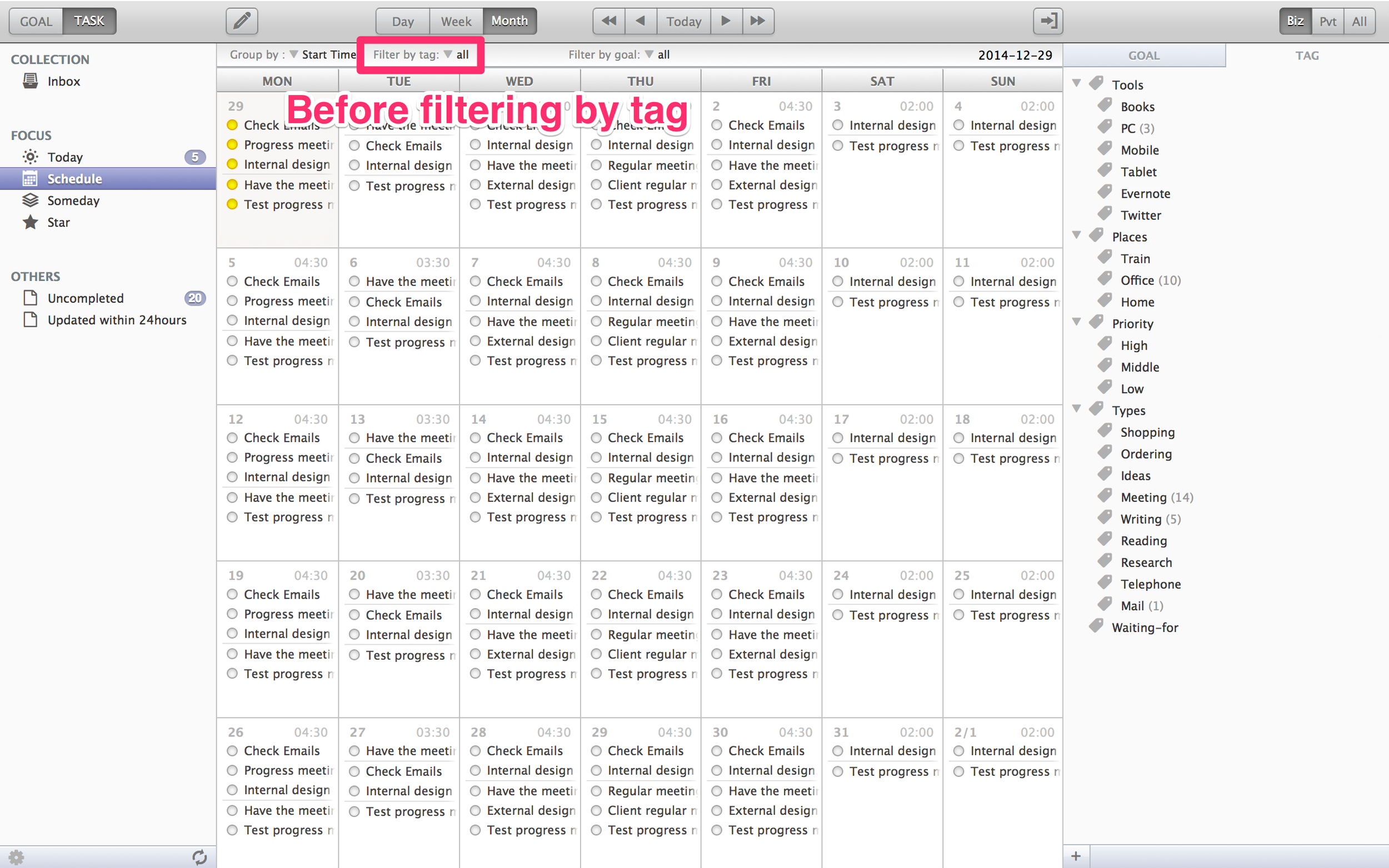 Before filtering : All the tasks are displayed.