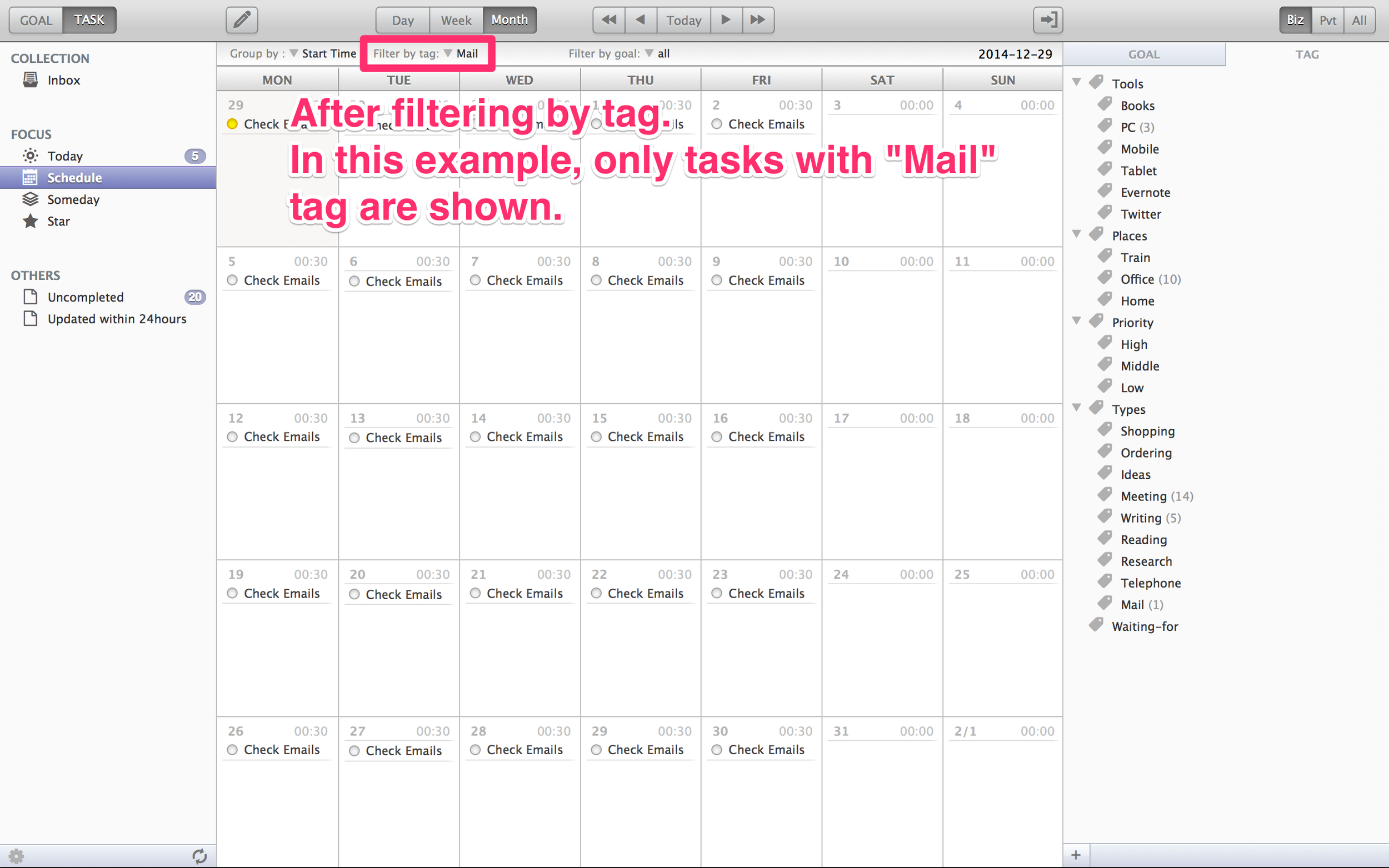 After filtering : Only tasks with the selected tag are displayed.