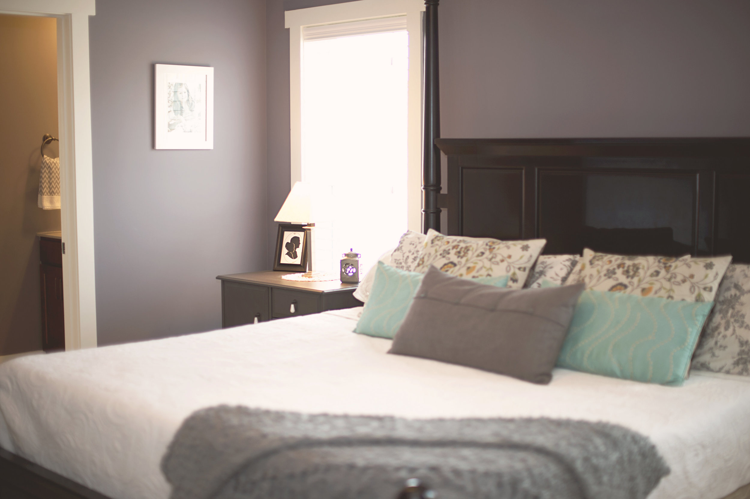 MASTER BEDROOM - muted grays and light accents