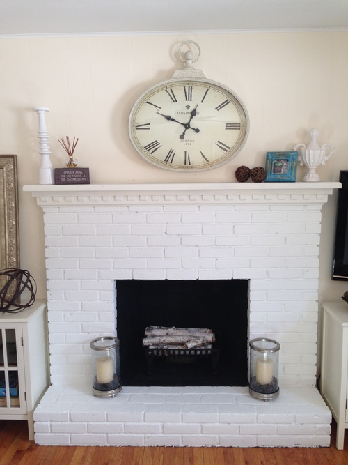 FAMILY ROOM MAKEOVER - painted brick fireplace & painted walls