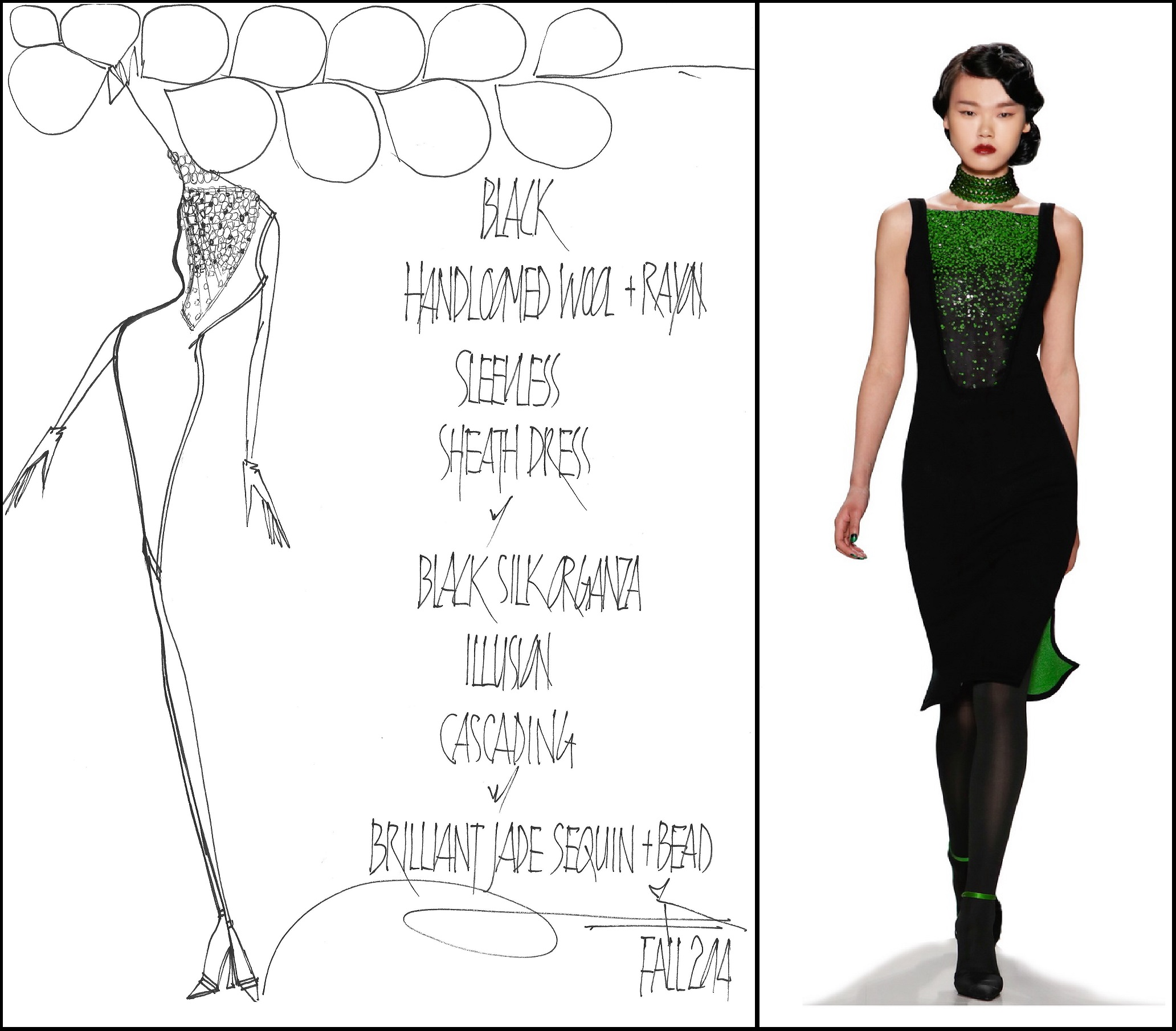 Here's a sample Zang sketch and the stunning dress the resulted from it. Fall 2014 season.