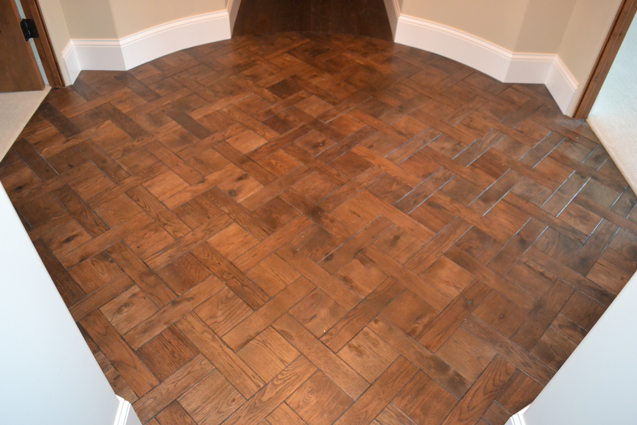 Versailles flooring pattern in hickory