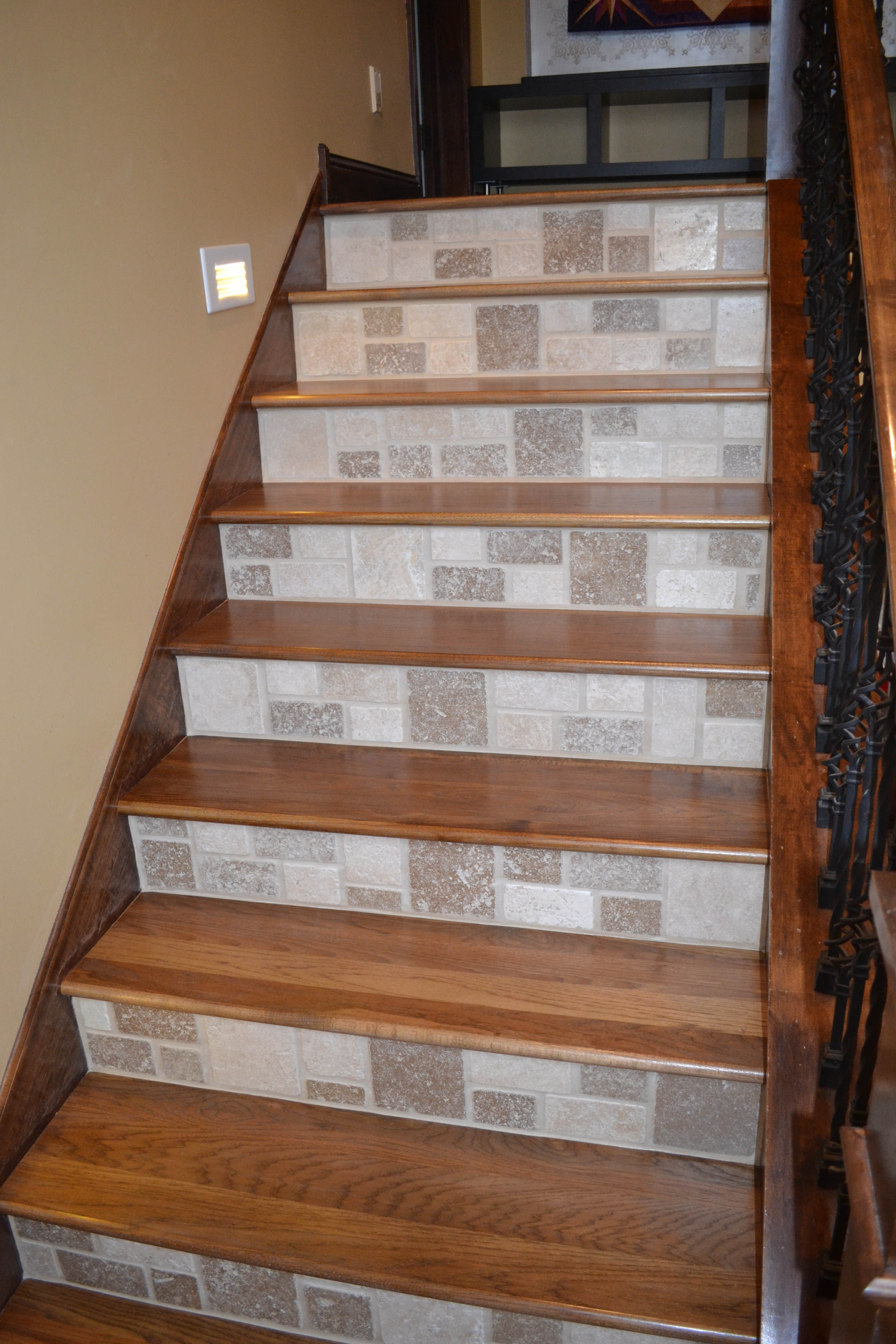 Wood treads and tile risers