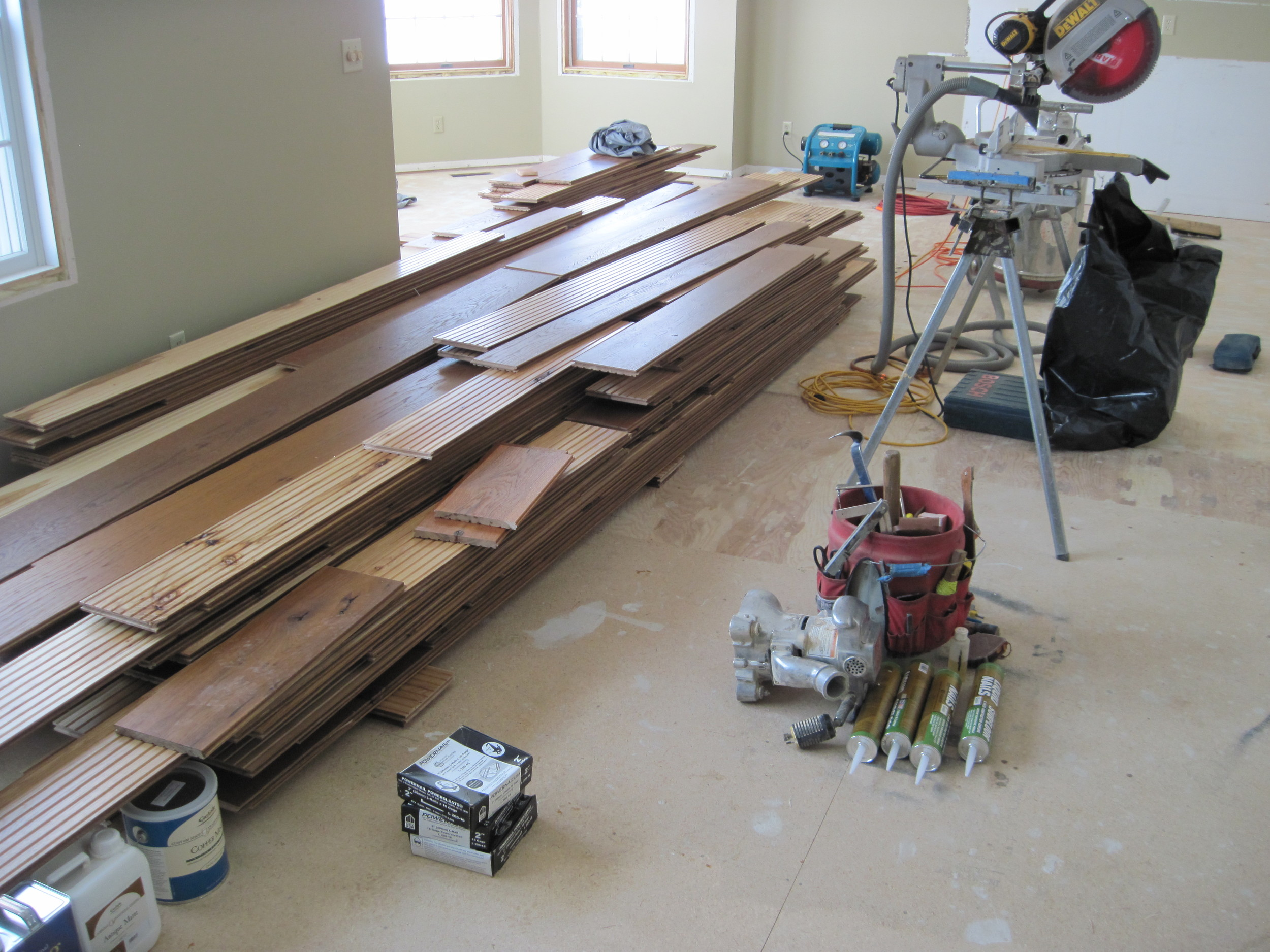 Getting ready to install prefinished wide plank flooring.