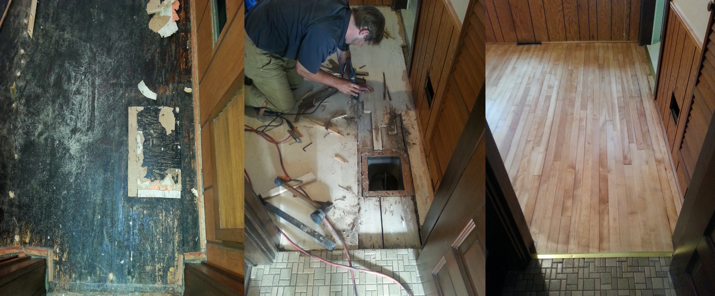 Repair and restoration of a maple floor damaged by carpet glue.
