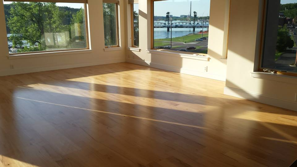 A buff and coat on engineered hardwood completed in Stillwater, MN.