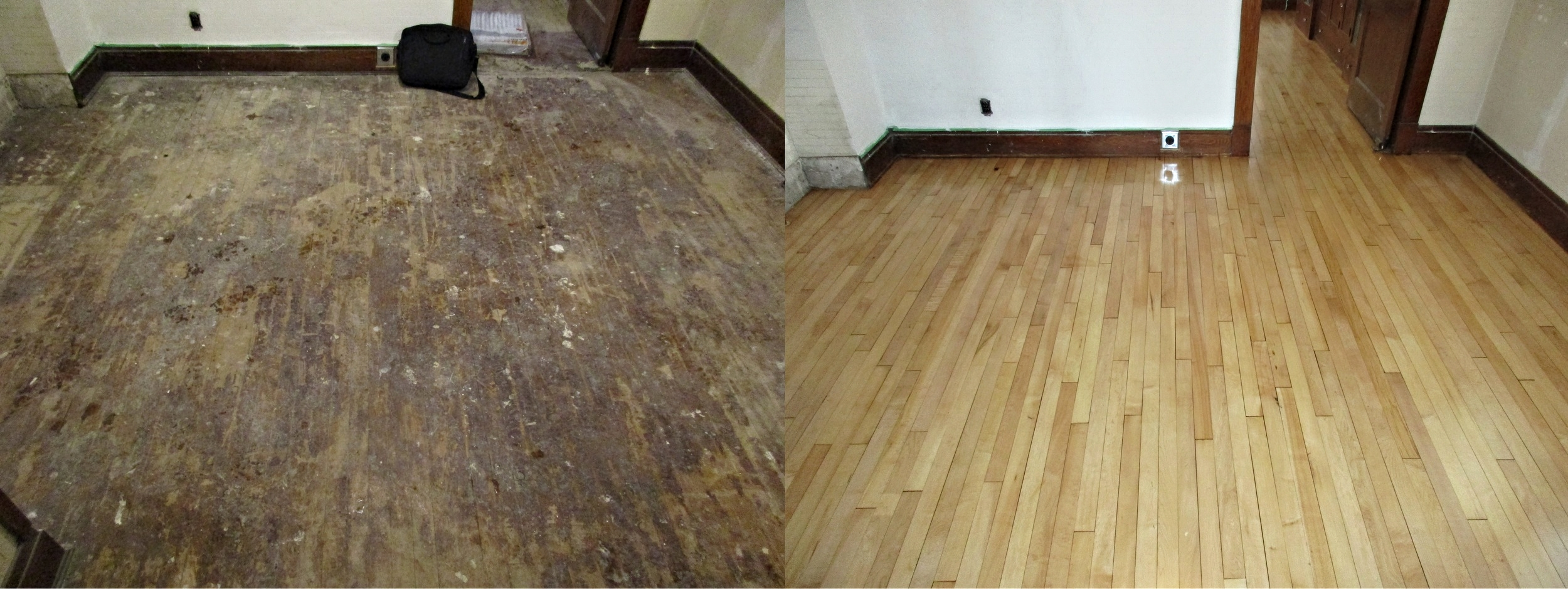 Sand and finish of an old maple floor