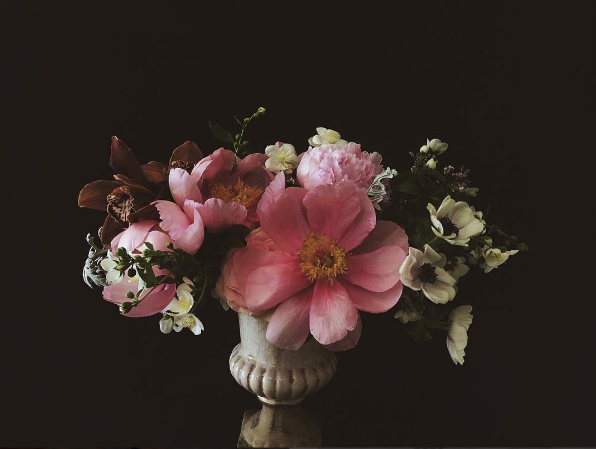 Flower Delivery: Stunning arrangement of Peonies, Anemones, Cymbidium Orchids, and Mock Orange Blossoms.