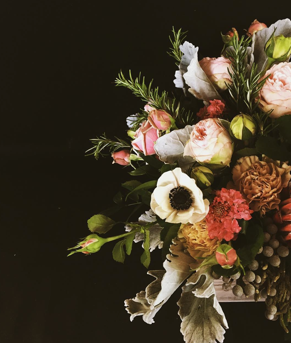 Flower Delivery: Lush and Fragrant Garden Box style arrangement of Garden Roses, Strawberry Scabiosa, Silver Brunia, Rosemary, and more seasonal varieties.