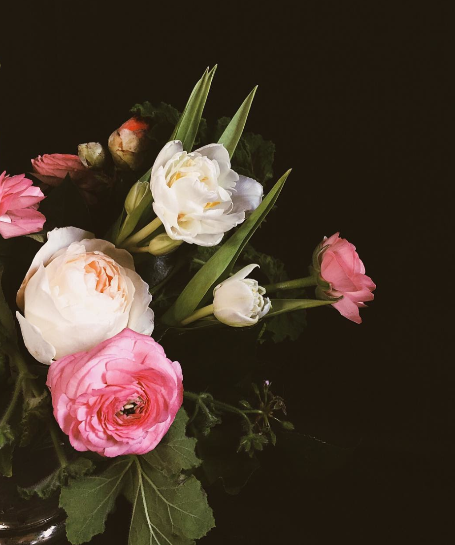 Flower Delivery: Spring garden mix of Geranium, Juliet Garden Roses, Pink Ranunculus, and Peony Tulips with Camellia accents.