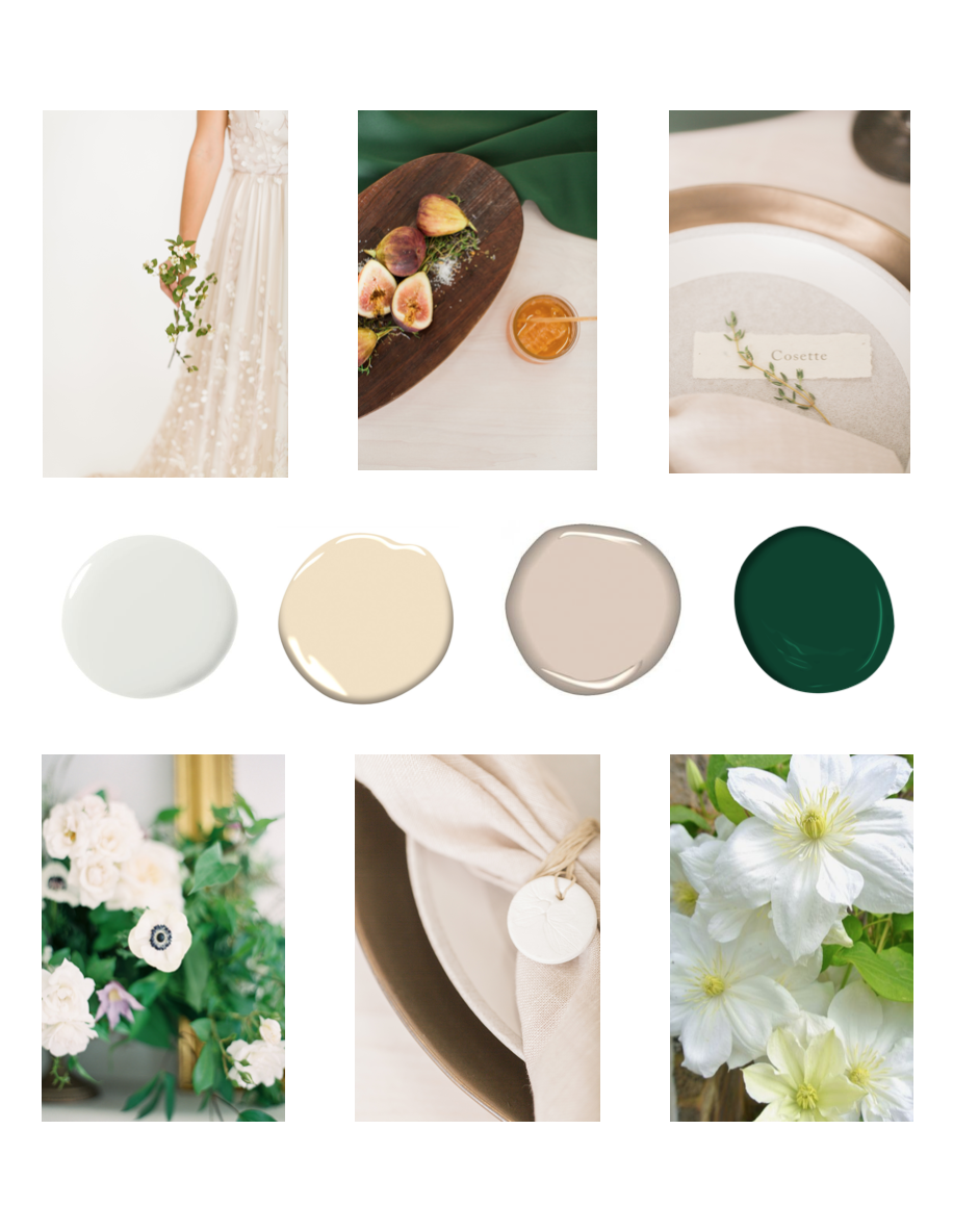 green and white wedding planning design inspiration board by blooms design house