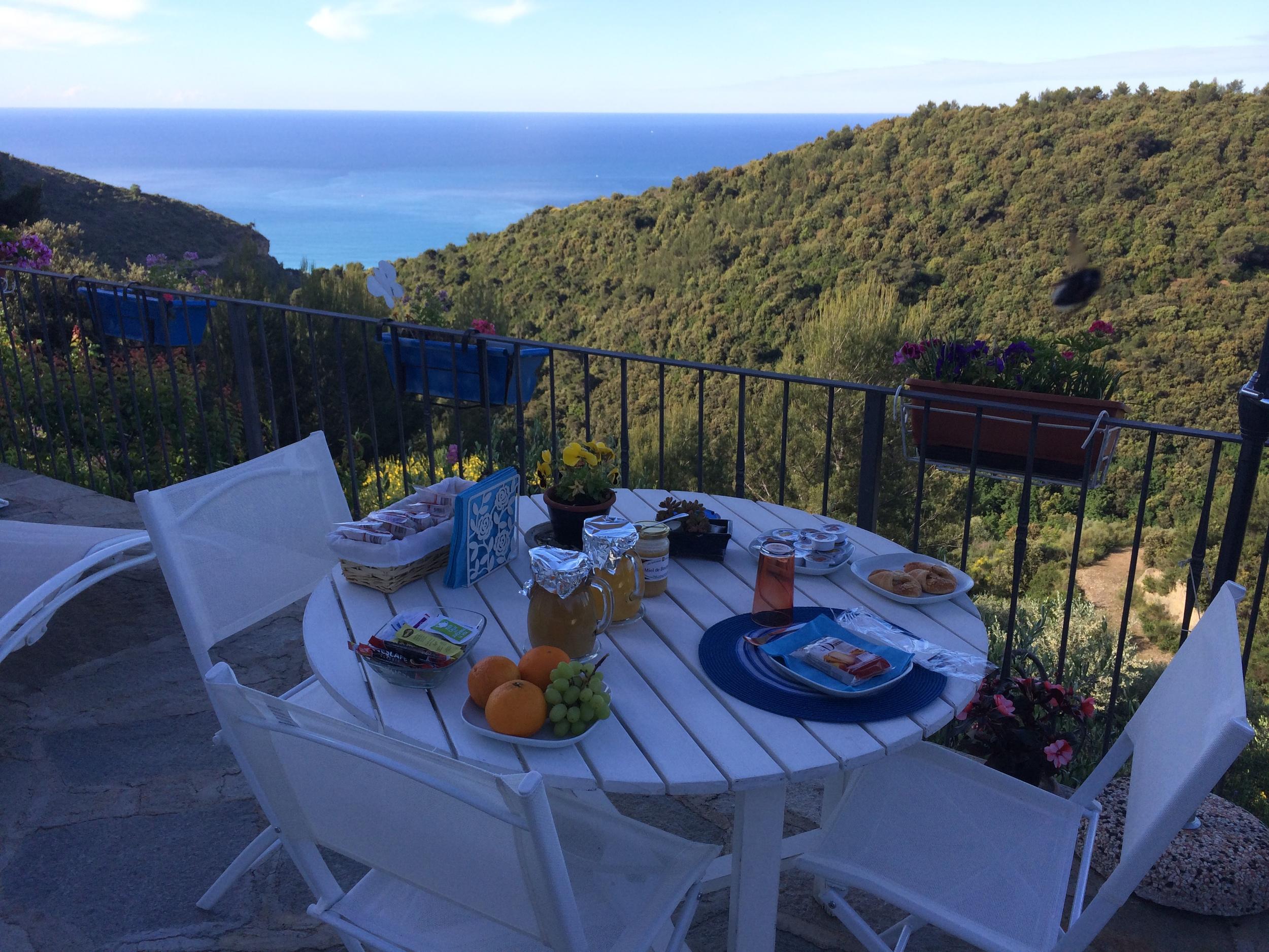 Breakfast overlooking the Mediterranean