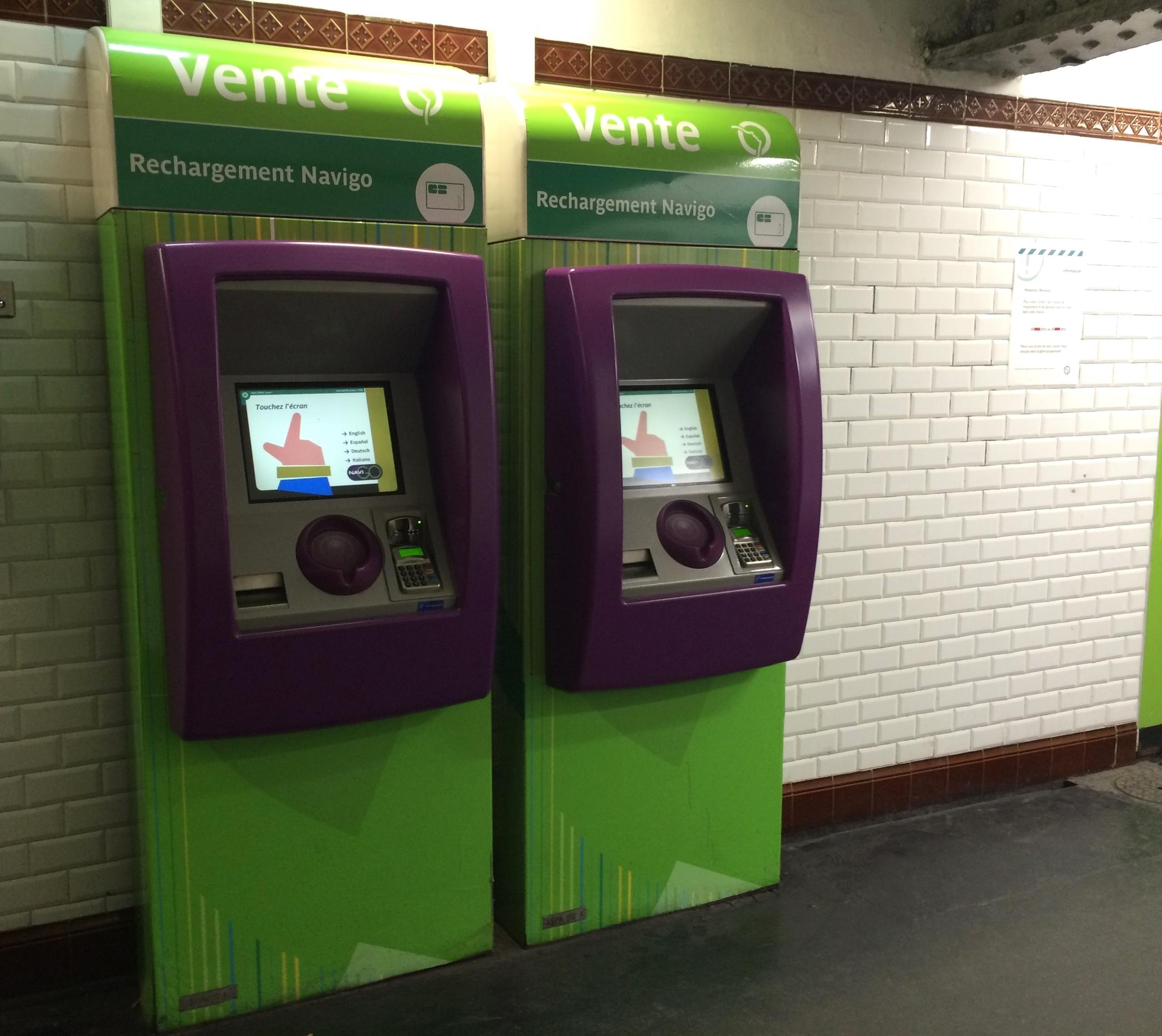 Navigo Kiosks at a Metro Station
