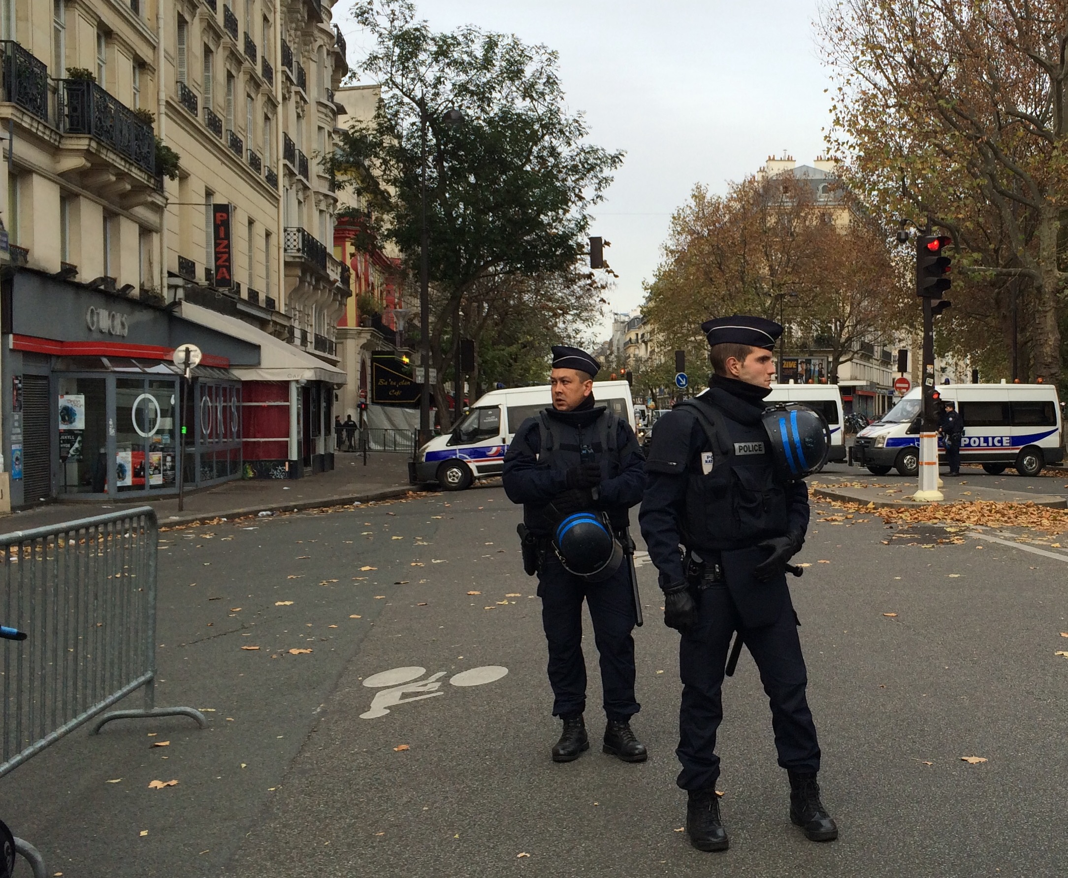 The morning after. Roadblock near the Bataclan.