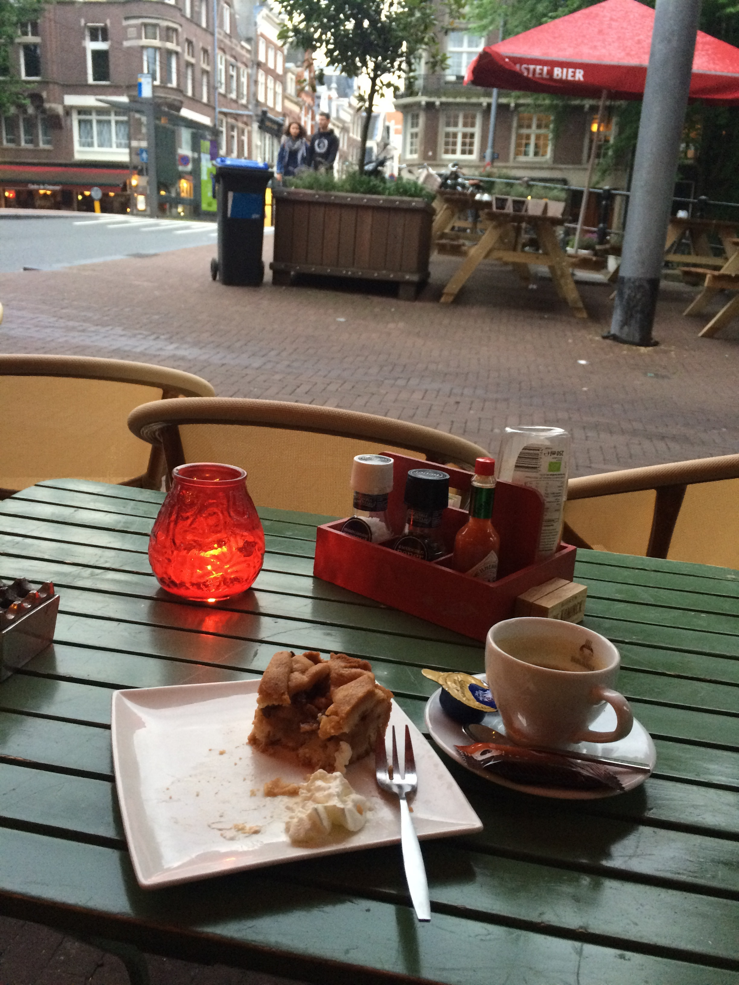 Apple tart and a coffee at the cafe across the street.