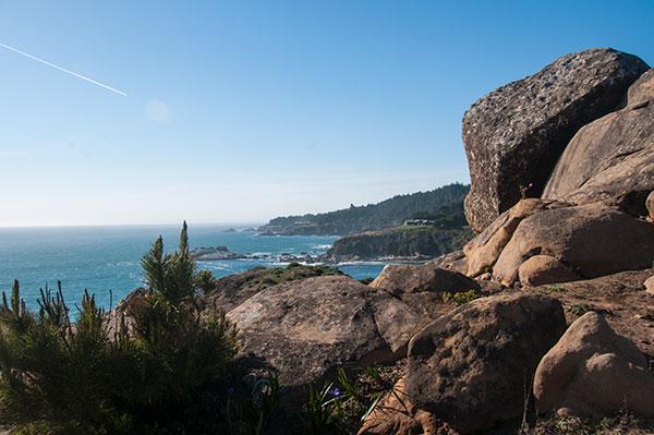Large rock trail along the coast