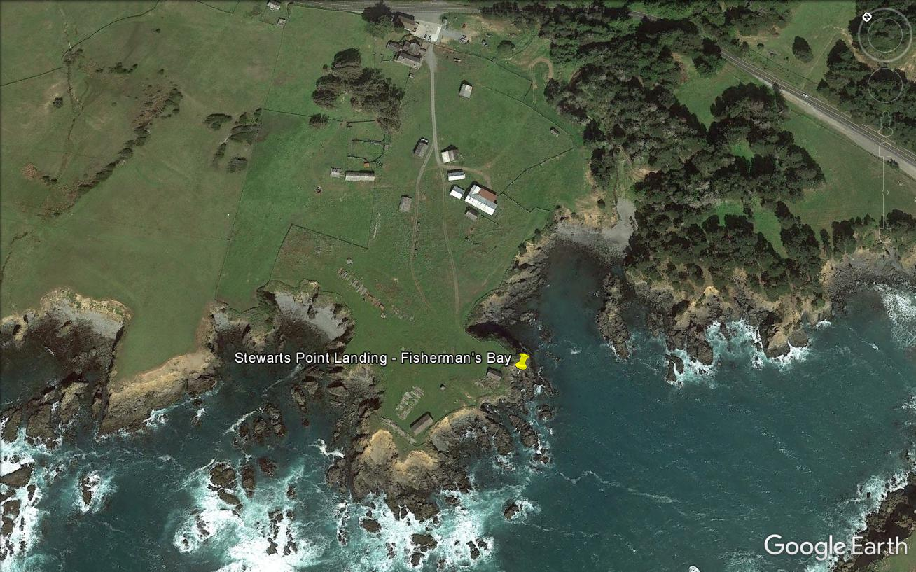 The lumber chute locations at Stewarts Point are indicated by the yellow pin. (Credit: Google Earth)