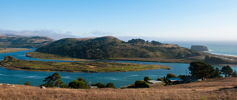 Photo of the Jenner Estuary and Goat Rock from the Jenner Headlands. Photo by Francesca Scalpi.