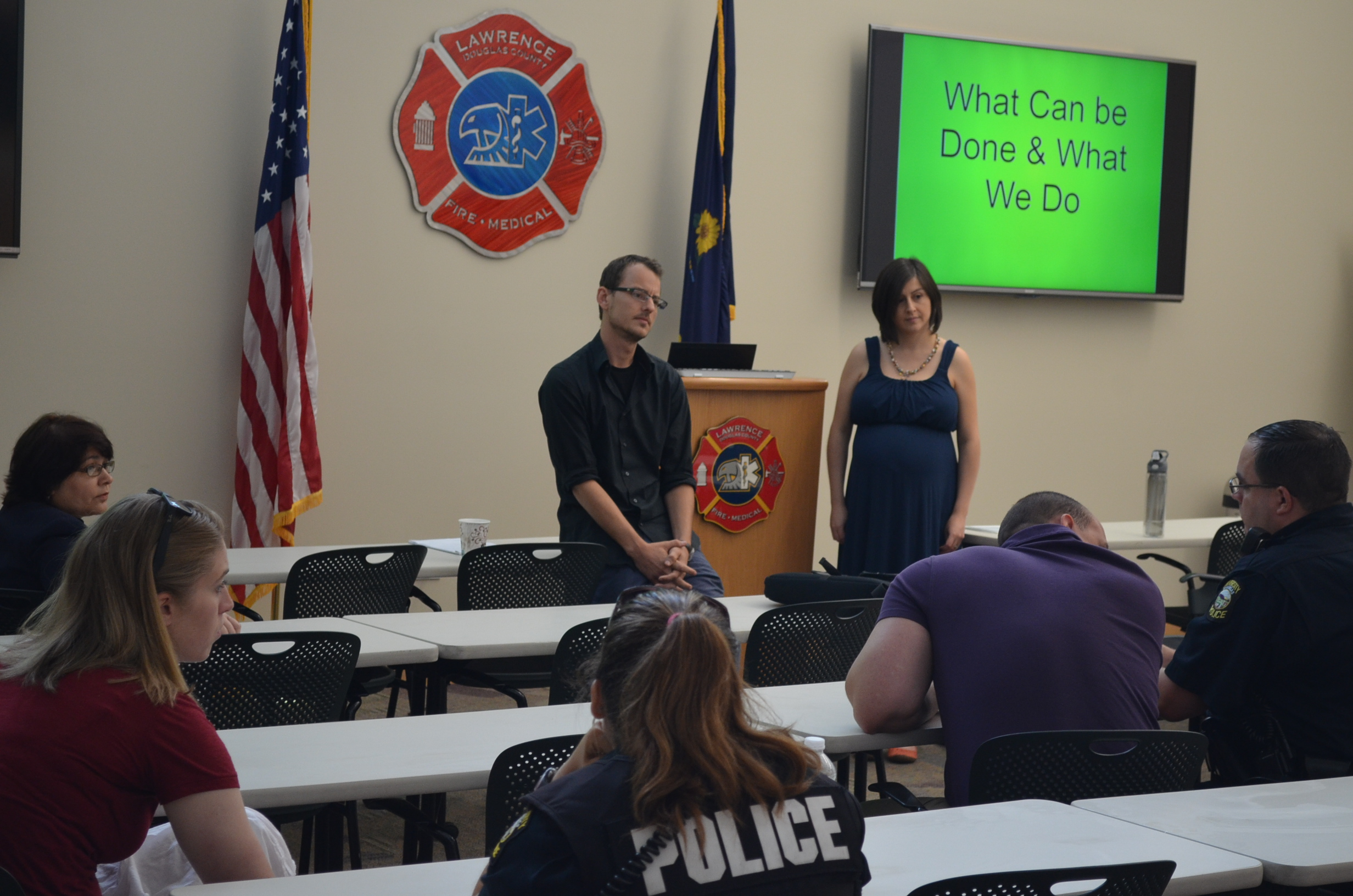 Joshua Spain & Laura Canelos providing multiculturalism training to the Lawrence Police Department