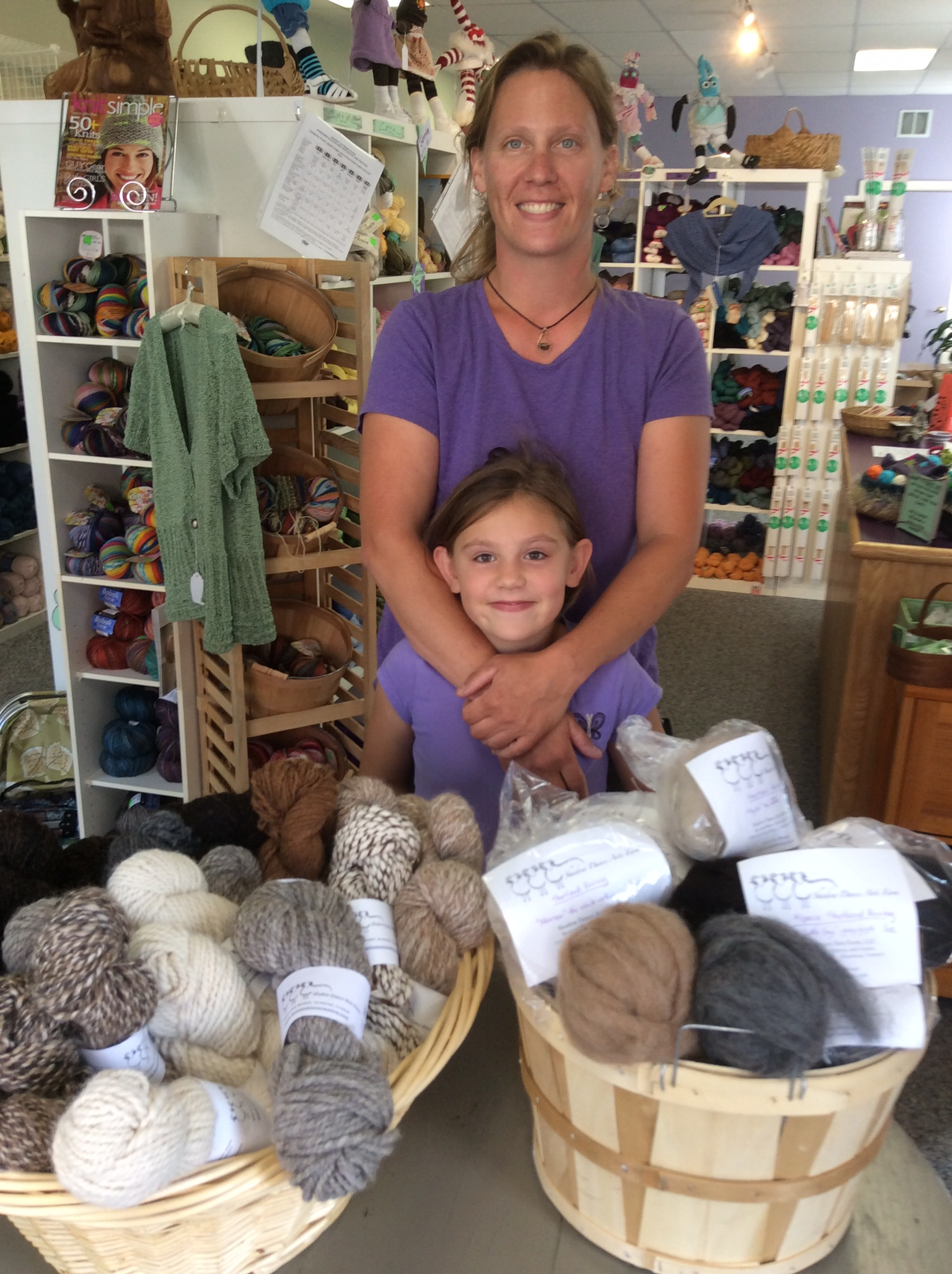 Kelly and her daughter Vivian of Shadow Dancer Arts Farm have just delivered their alpaca yarn and rovings.  All natural, no dyes, this yarn is beautifully hand-spun.  You have to touch it!