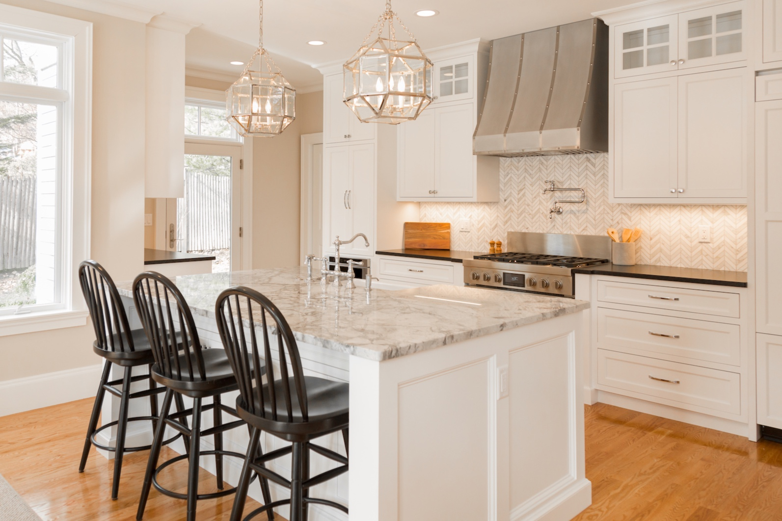 Winchester, MA Kitchen Renovation With Custom Countertop And Marble Island