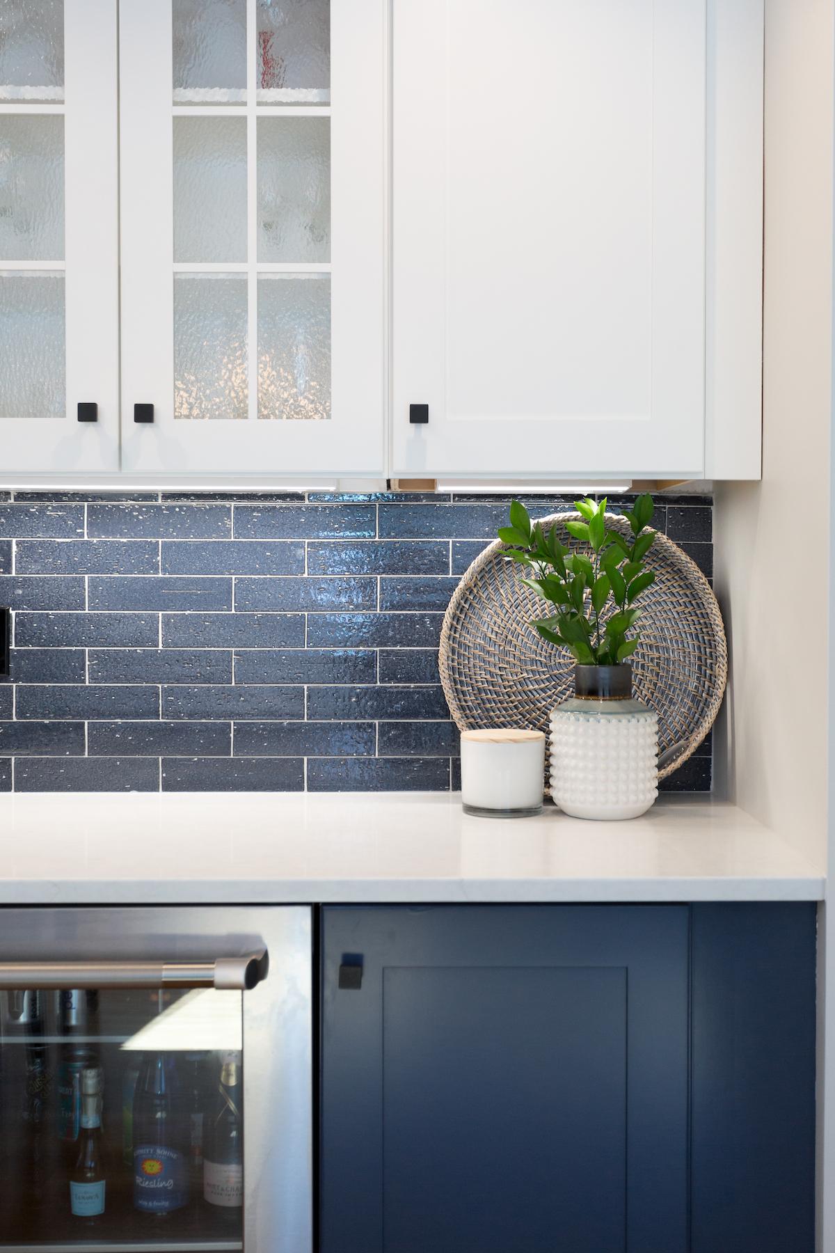 Blue Tile Backsplash In Kitchen Renovation