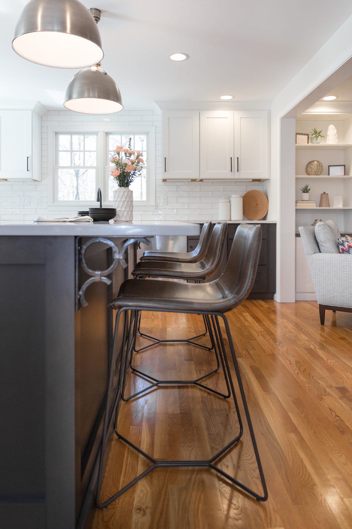 Hightop Chairs And Custom Bar In Kitchen Renovation