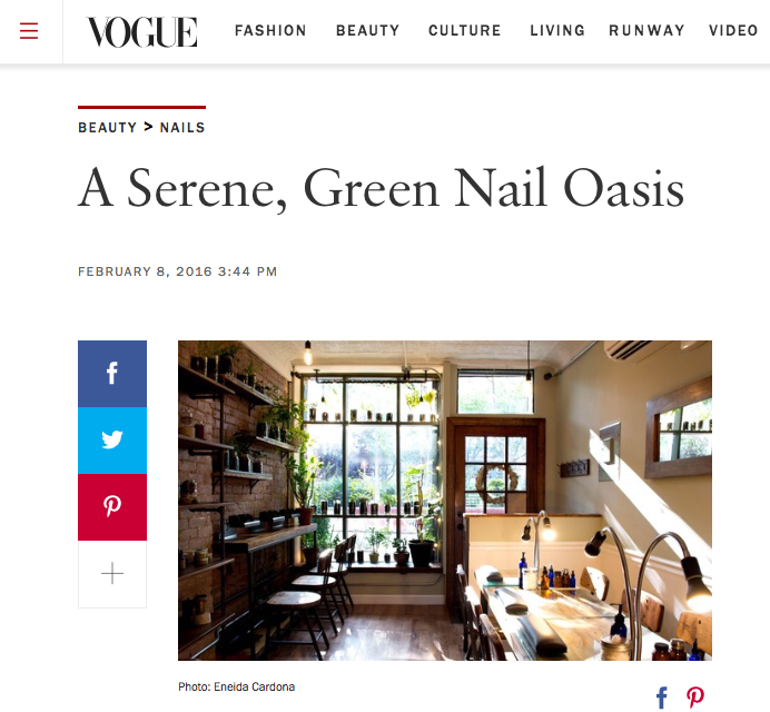 Press:  VOGUE    Tucked away in one of downtown Manhattan's bustling corridors is Hortus Nailworks, the city's most tranquil nail salon. The brainchild of Jane MacColla, the shop offers cutting-edge organic, nontoxic, and small-batch products that allow clients to enjoy being pampered without worrying about harmful chemicals. Sugaring services, which feature food-grade materials, offer a gentle and effective alternative to waxing. With its earthy-chic aesthetic—reclaimed wood, potted plants, down-tempo jazz—and expert nail artists, the space is designed to rejuvenate visitors inside and out.