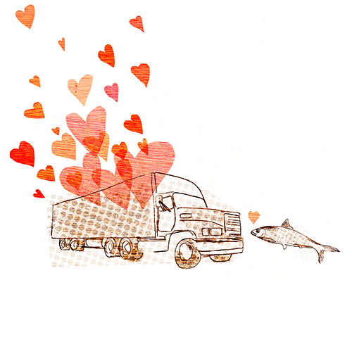An illustration I did for  WE Design's Art Club ...  also available for sale!!!   http://society6.com/fivefoottwo/fish-truck-love_bag#26=197