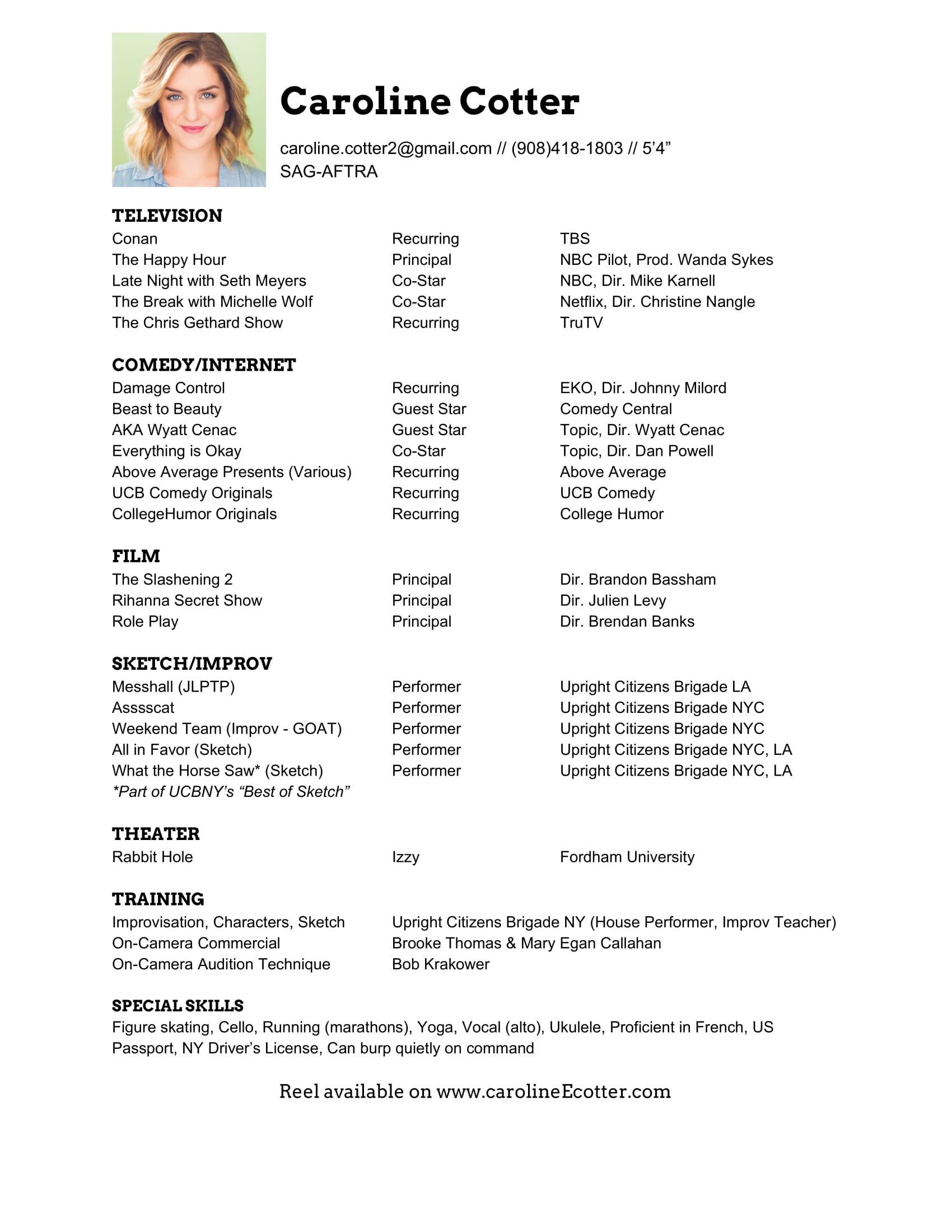 Resume Caroline Cotter