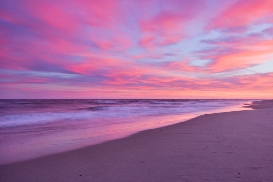 """Cotton Candy"" - A stunning pink sunset along the Atlantic Ocean. Chincoteague Island National Wildlife Refuge, Virginia."