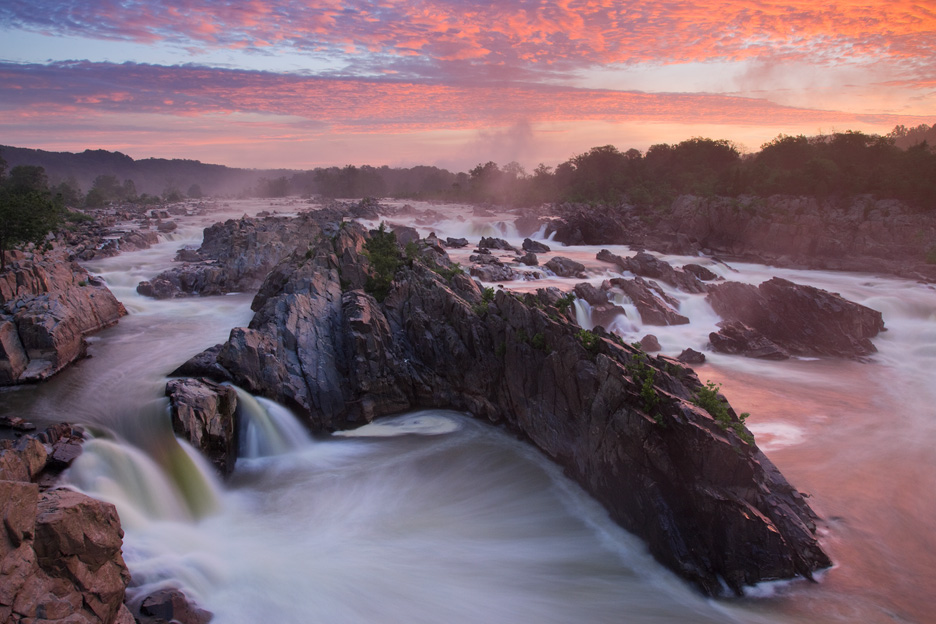 """Great Falls Sunrise"" - An intense sunrise over the Potomac River. Great Falls National Park, Virginia."
