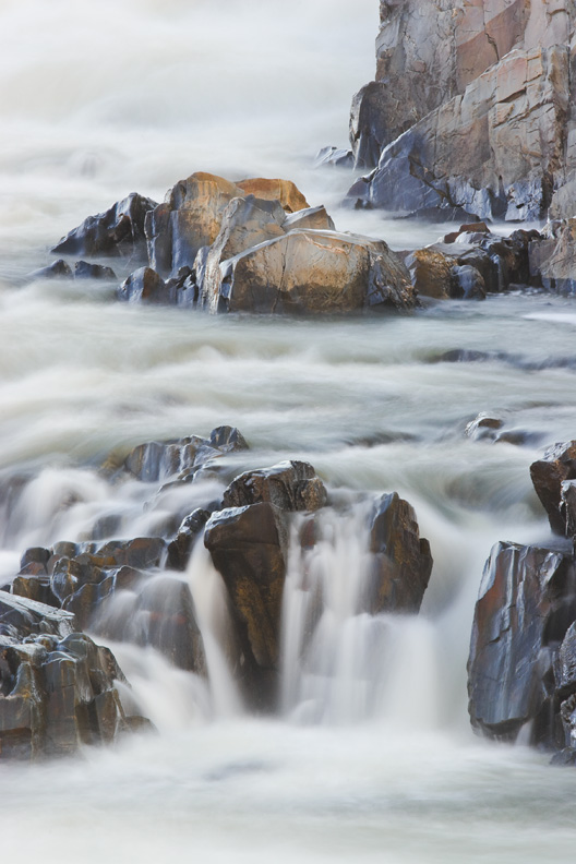 """Above the Clouds"" - A dreamy long exposure of rapids and waterfalls in the Potomac River. Great Falls National Park, Virginia."