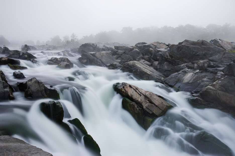 """Out of the Mist"" - A peaceful morning along the Potomac River while draped in fog. Great Falls National Park, Virginia."