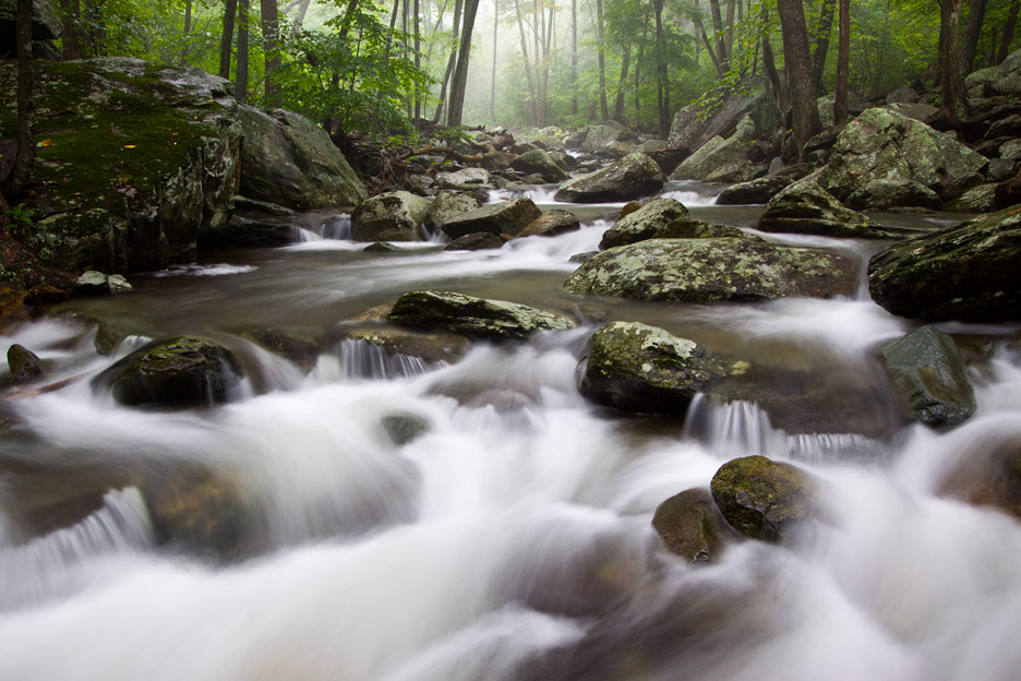 """Solitude"" - A stream in Whiteoak Canyon flowing heavily after a large summer storm. Shenandoah National Park, Virginia."