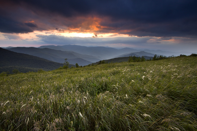 Stormy Sunset from Black Balsam Knob, Pisgah National Forest, North Carolina, United States.