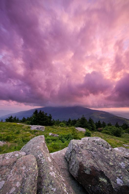 Magenta Stormy Sunset, Roan Highlands, North Carolina, United States.