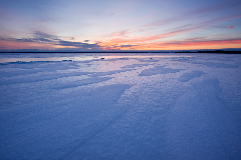 Winter Sunset on Oneida Lake, Upstate New York, United States.