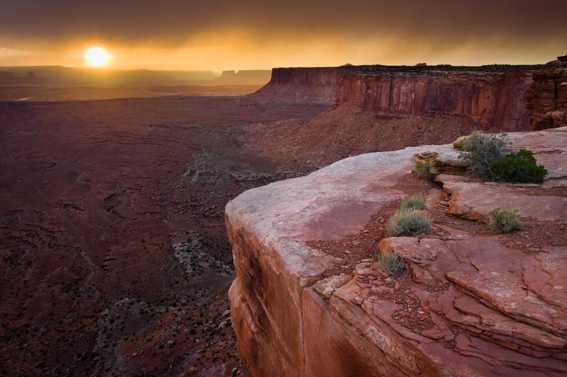 Fiery Orange Sunset, Canyonlands National Park, Utah, United States.
