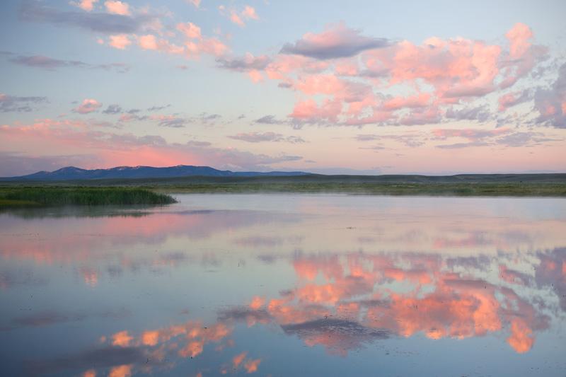 Serene Summer Sunrise Over a Prairie Pond, Colorado, United States.