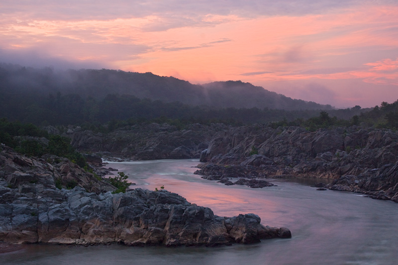 Sunrise View Down Mather Gorge, Great Falls National Park, Virginia, United States.