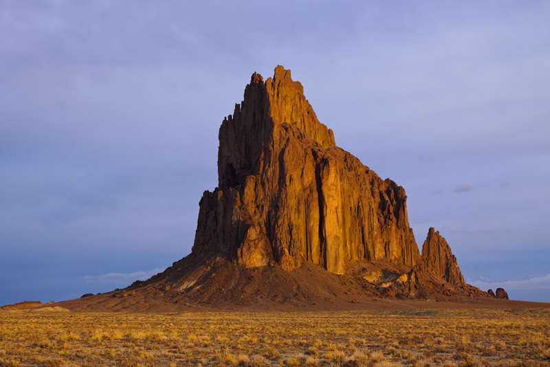 Shiprock Glowing Red Before an Incoming Snow Storm, Shiprock, New Mexico, United States.