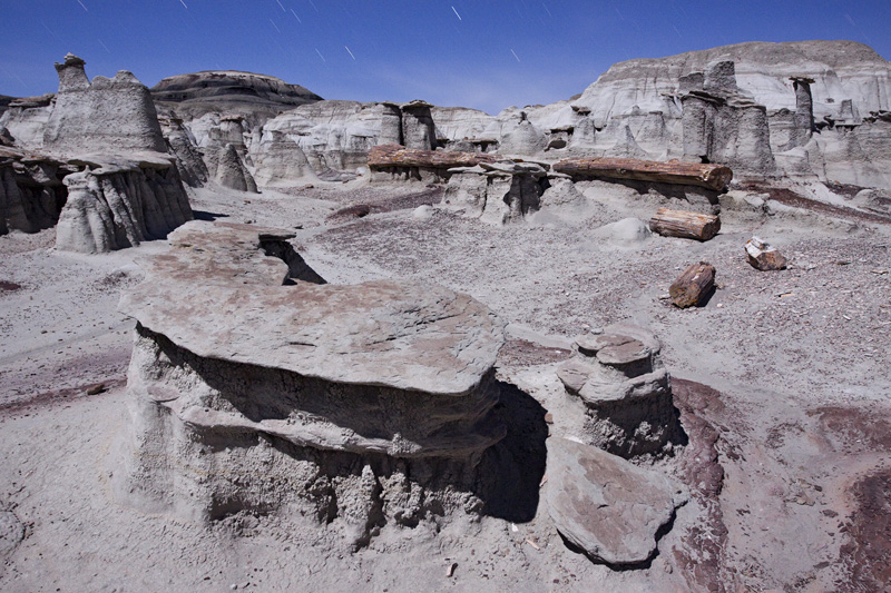 Bisti Badlands / De-Na-Zin Wilderness Area by Moonlight at Night, New Mexico, United States.