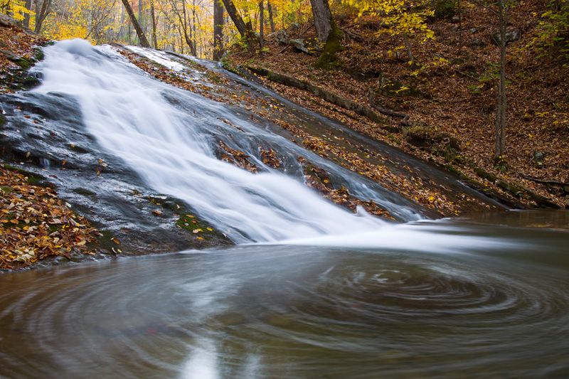 Roaring Run Falls in Autumn, Jefferson National Forest, Virginia, United States.