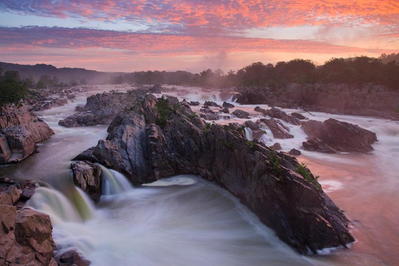 Intense Summer Sunrise, Great Falls National Park, Virginia, United States.