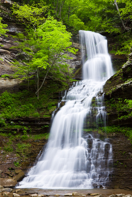 Closeup of Cathedral Falls Waterfall in Spring, West Virginia, United States.