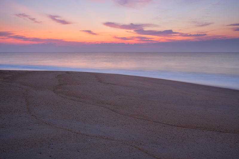 Peaceful Sunrise on the Atlantic Ocean, Middlesex Beach, Delaware, United States.
